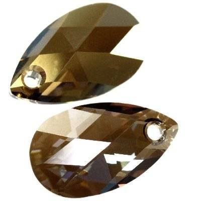 Swarovski pear-shaped pendants crystal bronze shade 16 mm