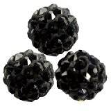 perles noires fimo boules caramballa cristaux 8 mm
