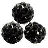 fimo round caramballa rhinestones black 8 mm