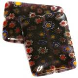 rectangles amethyst millefiori flowers 23 x 18 mm