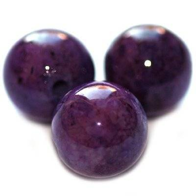 marble beads dyed amethystine 16 mm / natural stone dyed